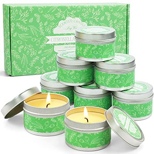 LA BELLEFÉE Citronella Kerzen Zitronengras Duftkerzen im Dose 100% natürliche Sojawachs Aromatherapie Kerzen für Innen und Draussen (8 x 95 g)