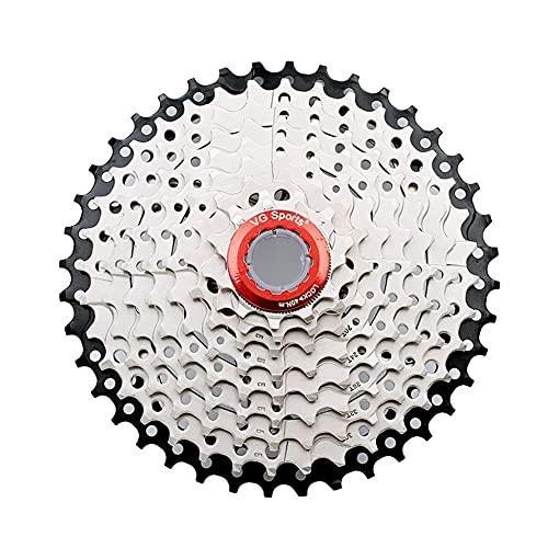 9 ÍNDICE DE Velocidad 11-40T Cassette Freewheel-MTB Pieza de Bicicleta de Plata Sprocket, Adecuado para la Rueda Libre de Bicicleta Shimano/Cassette
