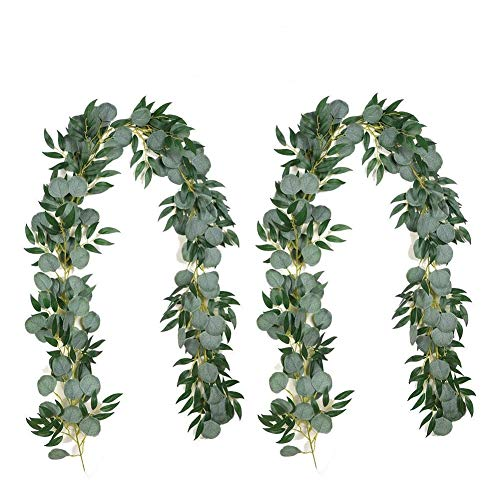 Iriisy 2 Pack 13 Feet Artificial Silver Dollar Eucalyptus Leaves Garland with Willow Vines Twigs Leaves for Wedding Party Home Centerpiece Table Runner Greenery Garland Indoor Outdoor