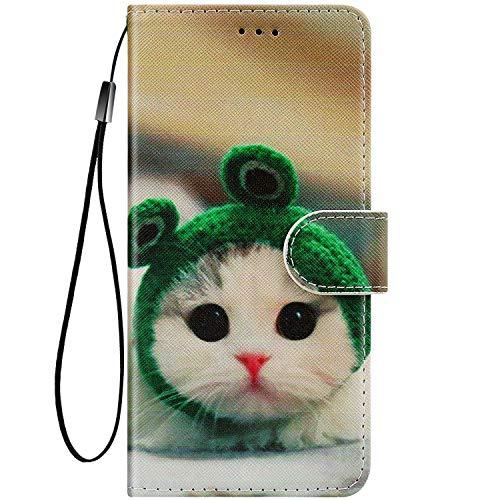 Felfy Kompatibel mit Nokia 5.1 2018 Hülle Bunte Painted Muster Schutzhülle,Handyhülle für Nokia 5.1 Magnet Flip Hülle PU Lederhülle Tasche mit Kartenfach/Standfunktion - Süße Katze