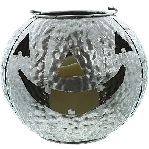 SIDCO Windlicht Kürbis Laterne mit LED Halloween Herbstdeko Kerzenhalter Metallkürbis