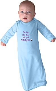 for This Little Boy We Have Prayed Infant Baby Combed Ring-Spun Cotton Sleeping Gown - Light Blue, Gown & Hat Set