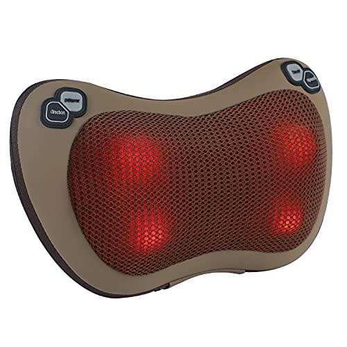 Massagekissen, Lofamy Shiatsu Massagegerät mit Wärmefunktion Massage und 4 3D-rotierenden Massageköpfen für Nacken, Schulter, Rücken