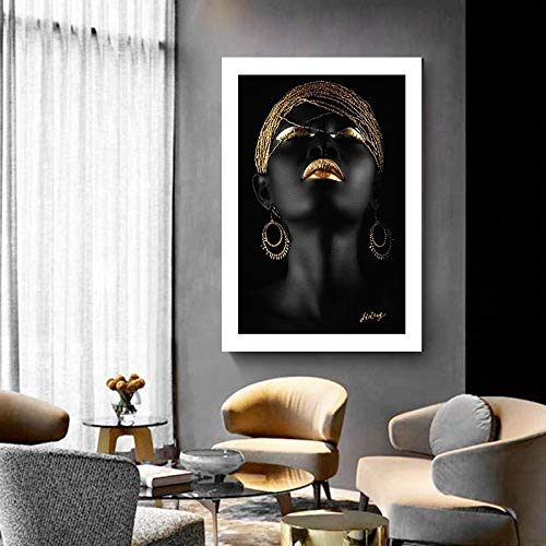 ganlanshu Schwarze Meditierende Afrikanerin Skandinavische Leinwand Ölgemälde Poster und Wandkunst,Rahmenlose Malerei-80X120cm