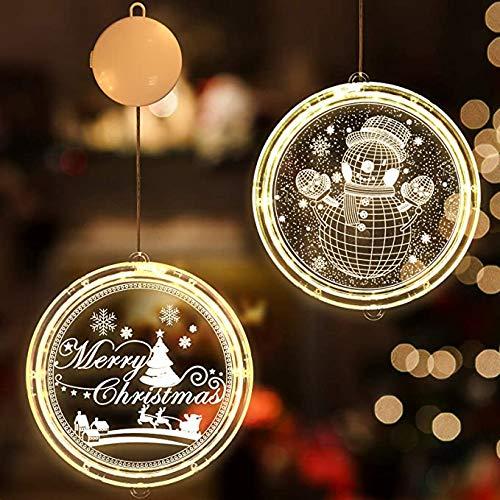 2 Piezas 3D Luz colgante de Navidad,Guirnaldas Cortina Luces Cálido Acrílico Colgantes Navideñas Impermeable Lámpara Cadena Luces de Navidad para Balcón, Ventana, Pared, Escaparate, Boda, Fiesta