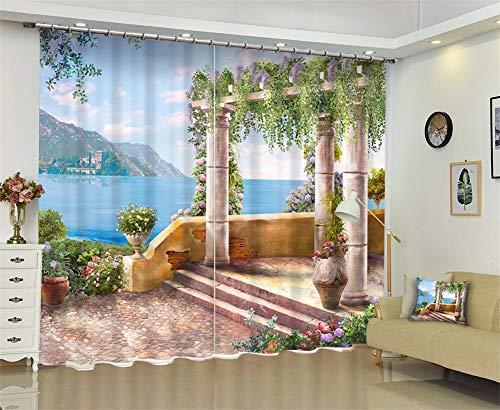 Eastery Dbtxwd Vorhänge 3D Meer Lila Gazebo Drapieren Verdunkelungs Schlafzimmer Warmen Einfacher Stil Schutz Vorhang Wohnzimmer Tatsächliche Fenster Vorhänge Wide 2.64X High 2.13