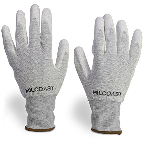 Milcoast Carbon Fiber Electrostatic Discharge Anti-Static ESD Gloves - Polyurethane Palm Coated for Work and Handling - Pack of 10 Pairs (Large)