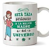MUGFFINS Mama Tazas Originales de café y Desayuno para Regalar a Madres - Esta Taza Pertenece a la Mejor Madre del Universo - Cerámica 350 ml