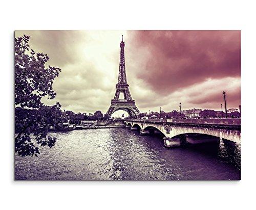 Augenblicke Wandbilder 120x80cm XXL riesige Bilder fertig gerahmt mit Echtholzrahmen in Mauve Eiffelturm Winter Regen Paris