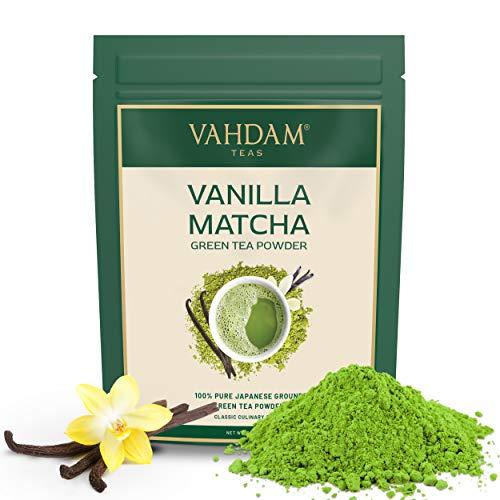 VAHDAM, té verde matcha de vainilla (50 porciones) | 100% PURE Matcha Tea Powder de origen japonés | 137x ANTIOXIDANTES | Té verde para bajar de peso | SUPER COMIDA de Japón, 100 g