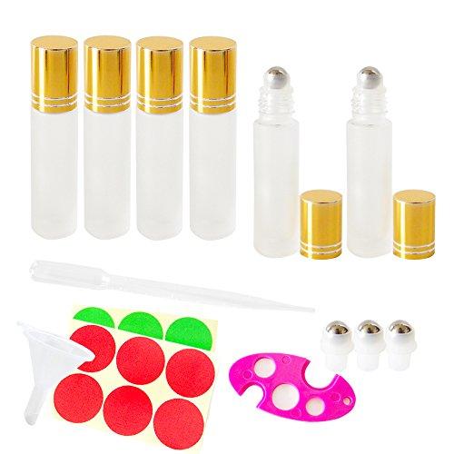 GreatforU 6 STÜCKE 10ml Mini Klar Glas Rollerflaschen mit Gold Kappe und Stahl Roller Balls, Kosmetische Vorratsbehälter Jar Töpfe für ätherisches Öl Parfüm Aromatherapie Probe für Haus und Reise