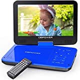 DBPOWER 12.5' Portable DVD Player with 10.5' Swivel Screen Car Built-in 5 Hours Rechargeable Battery, Supports All-Region, Earphone/SD Card/USB/AV-in/AV-out, Direct Play in Formats AVI/RMVB/MP3/JPEG