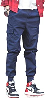 Miracle Men's Elastic WaistAthletics Pocket Chino Cargo Pant Trousers Jogger Pants