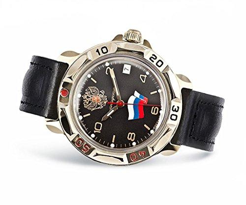 Vostok 211307, Armband Uhr, Russland, Militär, Komandirskije, UDSSR, Soviezunion, Armee, Mechanisch, Wasserdicht, Wappen, Flagge, Schwarz, Roter Stern