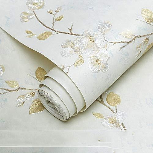 Papel pintado vintage americano no tejido 3D en relieve, diseño de flores pequeñas, para sala de estar, dormitorio, televisión, fondo