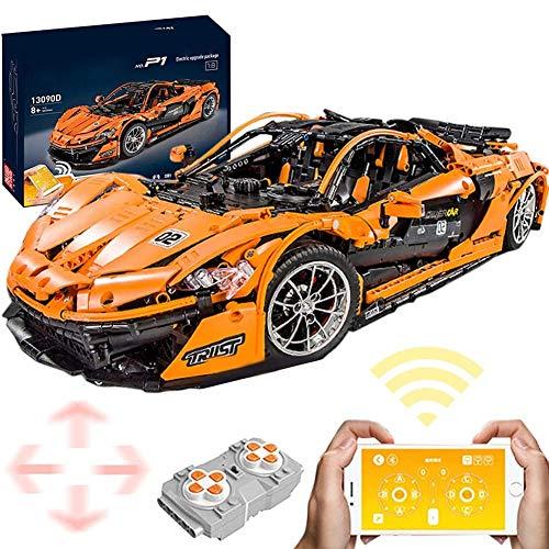 GRTVF Control remoto Bloque de construcción Técnica de deportes de automóvil, 1: 8 Bloques de construcción de autos deportivos con módulo de potencia de motor de batería de litio, regalo de juguete de