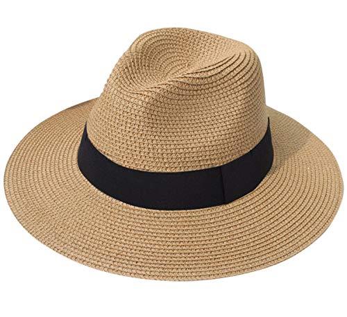 Lanzom Women Wide Brim Straw Panama Roll up Hat Fedora Beach Sun Hat UPF50+ (A-Brown)