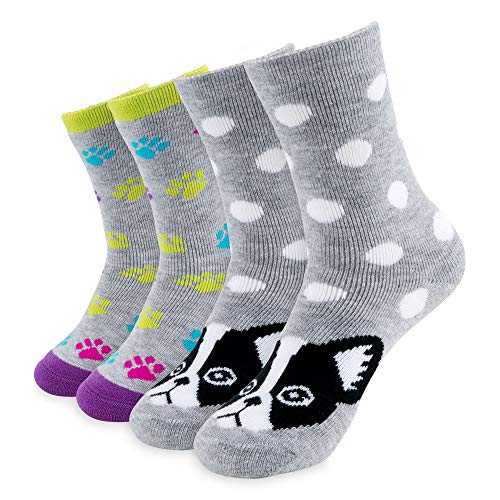 Hot Feet Girl's Heavy Thermal Socks - Traps in Warmth - Frenchie - Pack of 2