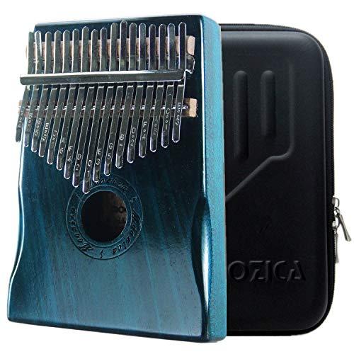 MOOZICA カリンバ 17キー C調 初心者向けかりんば 高品質アカシアコア木材 Kalimba 17key親指ピアノ 楽器 調音ハンマー 日本語説明書と楽譜 防振収納ケース付き ブルー