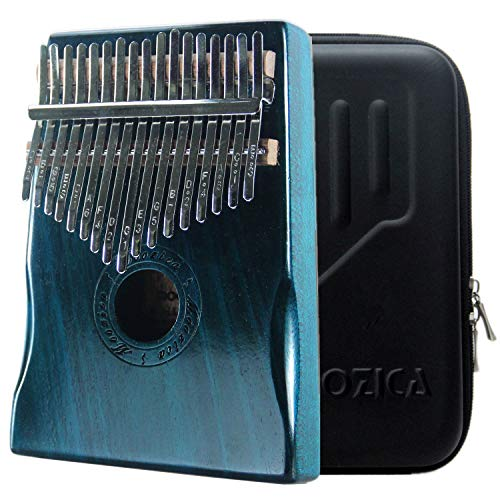 Moozica 17 Schlüssel Kalimba Marimba, High Qualität Professionelle Finger Daumen Piano Musikinstrument Geschenk (Mahagon Holz- Dunkelgrün)