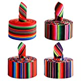 Dongzhur 4 Pieces Fiesta Ribbon Mexican Serape Ribbon Rainbow Stripes Ribbon Colorful Grosgrain Ribbon for DIY Wrapping, Fall Crafts Decoration, Party Decoration, Crafting Sewing Supplies