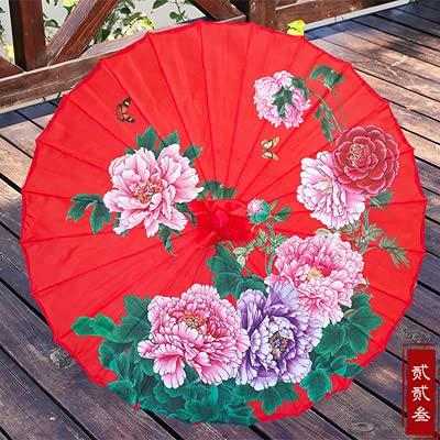 PUK Paraguas de Seda para Mujer con Flores de Cerezo japonés, Paraguas de Seda paraBaile Antiguo, Paraguas Decorativo, Paraguas de Papel de Aceite de Estilo Chino