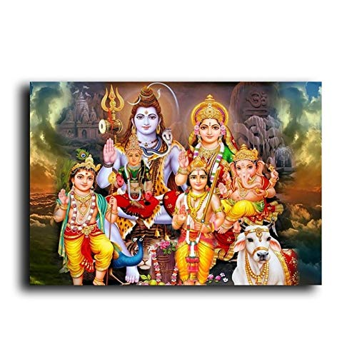 BGFDV Shiva Parvati Ganesha, Arte Indio, Figura de Dios hind, Lienzo, Pintura, pster religioso, impresin, Cuadro de Pared de la Sala de Estar
