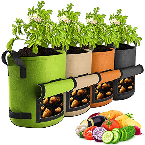 【4 Pack 7 Gallon】 Potato Grow Bags, Suntee Plant Grow Bags Heavy Duty Thickened Nonwoven Fabric...