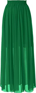 Women's Floor Length Beach Skirt Floral Print Chiffon Maxi Skirts