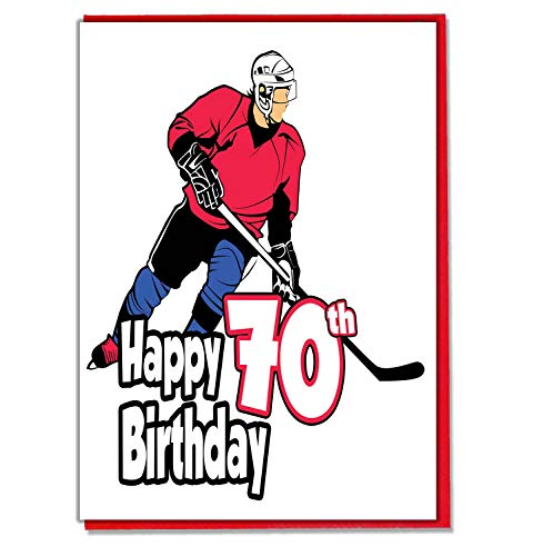 Eishockey – Geburtstagskarte zum 70. Geburtstag, für Herren, Sohn, Enkel, Vater, Bruder, Ehemann, Freund, Freund
