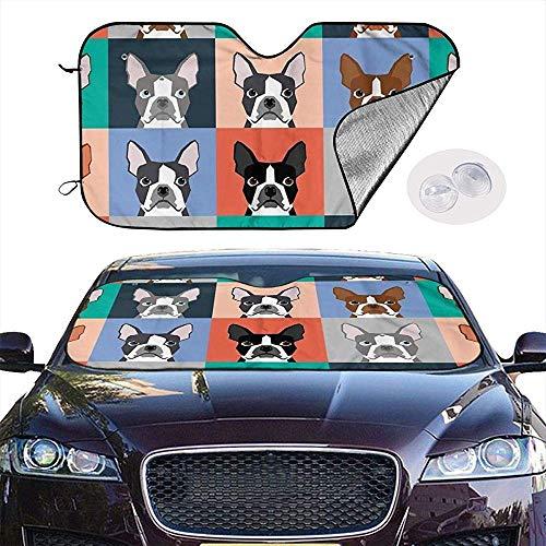 KDU Mode Auto Zonneschaduw, Boston Terriers Tile Bulldog Hond Set Patroon Zonnescherm Gepersonaliseerde Auto Voorraam Zonneschermen Voor Auto Automotive Voertuig 76x140cm