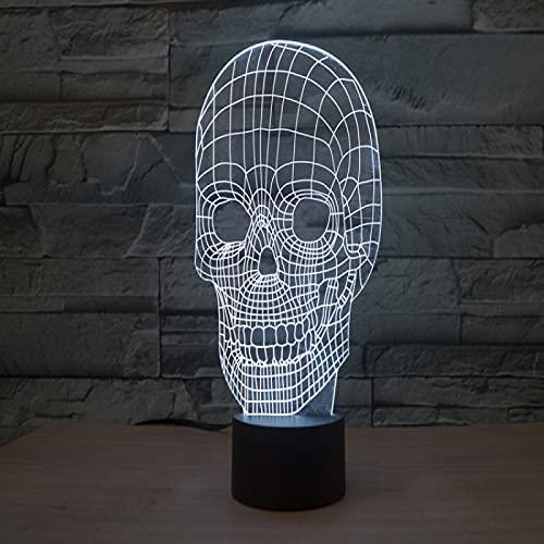 YYHMKB illusion d'optique applique murale chambre spiderman requin lampe dtête de crâne colorée 3D interrupteur à écran tactile LED lampe de table dégradée tactile lumière stéréo visuelle