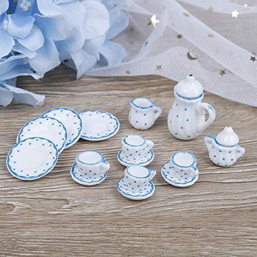 Sungpunet Puppenhaus Spielzeug 15st 12.01 Puppenhaus Miniatur Blume Patten Porzellan Kaffee-Tee-Becher Keramikgeschirr Puppenküchenzubehör für Haus-Dekoration