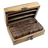 Alphabet Stamps Set, KMIKE 70pcs Letter/Number/Symbol Vintage DIY Craft Card Making Wood Rubber Stamp