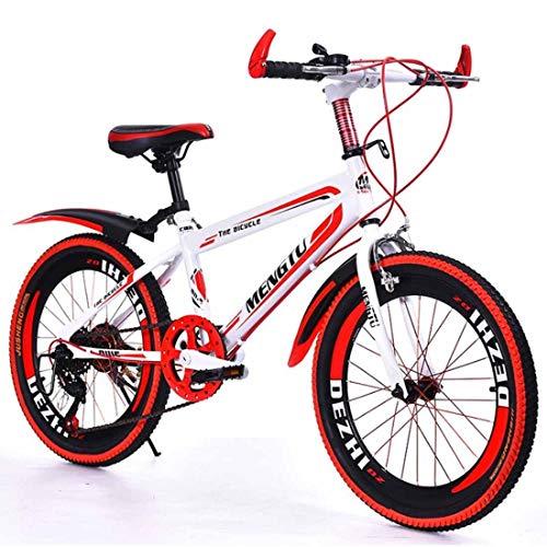 MUYU 20 Zoll (22 Zoll, 24 Zoll) Mountainbike Fahrrad Unisex Kinder-Mountainbike 6-Gang Rahmen Aus Kohlenstoffstahl,Red,20inches