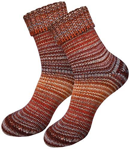 dunaro 2 Paar gestrickte Norweger-Socken Wollsocken Wintersocken kuschelig warm Damen Herren (2 Paar / 35-38 Kastanie)