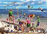 Kpdar Pintura por Números Kits Buscadores de conchas Diy Pintura al óleo para Adultos, Niños, Creative Pintura sobre Lienzo Decoración para el Hogar Dibujo con Pinceles -40x50cm (Sin Marco)