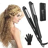 Plancha de pelo ancha con ranuras, 420 °F, plancha de crepé para el cabello, profesional, placa de maíz, para ondas permanentes, herramienta de peinado para el cabello, puede crear rizos estrechos