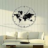 JXND Reloj Viajes Turismo Bombeo Mapa del Mundo Vinilo Tatuajes de Pared Habitación Familiar Dormitorio Sala de Estar Decoración de la Pared Arte Adhesivo Mural 71x71cm