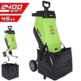 BAKAJI 2832160 Broyeur électrique avec Sac de Collecte, Puissance 2400 W, 45 l