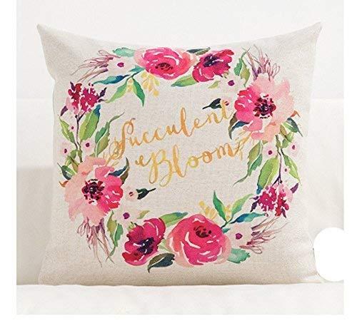 Sccarlettly Überwurf Kissen Fall Umfasst Schöne Bloom Casual Chic Blume Dekorative Deko 40,6 X 40,6 cm Baumwolle Leinen Kissenbezug Kissen Fall Für Sofa Home Decor 20X20