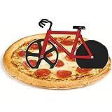 flintronic Corta Pizza Antiadherente, Ruedas Cortadoras De Pizza De Bicicleta, Cortadora de Pizza para Bicicleta con Soporte, Acero Inoxidable Doble, Rojo