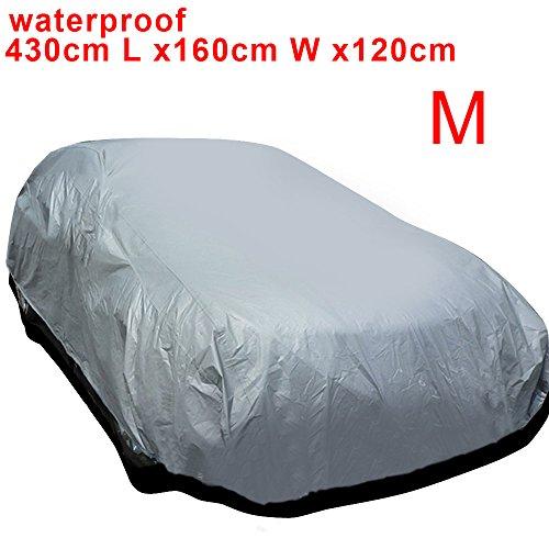 AllRight Auto Abdeckung Autogarage Ganzgarage Abdeckung Abdeckplane Autoplane Wasserdicht UV Sonne Regen Schutz Silber M:430 * 160 * 120CM