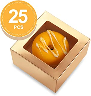 BAKIPACK 25 Bakery Boxes 4x4x2.5 Inches Cupcake Boxes with Window Treat Boxes for Small Bakery, Dessert, Candy, Cookies, Pastry, Treat, Party Favors, Wedding Cake Gold/White