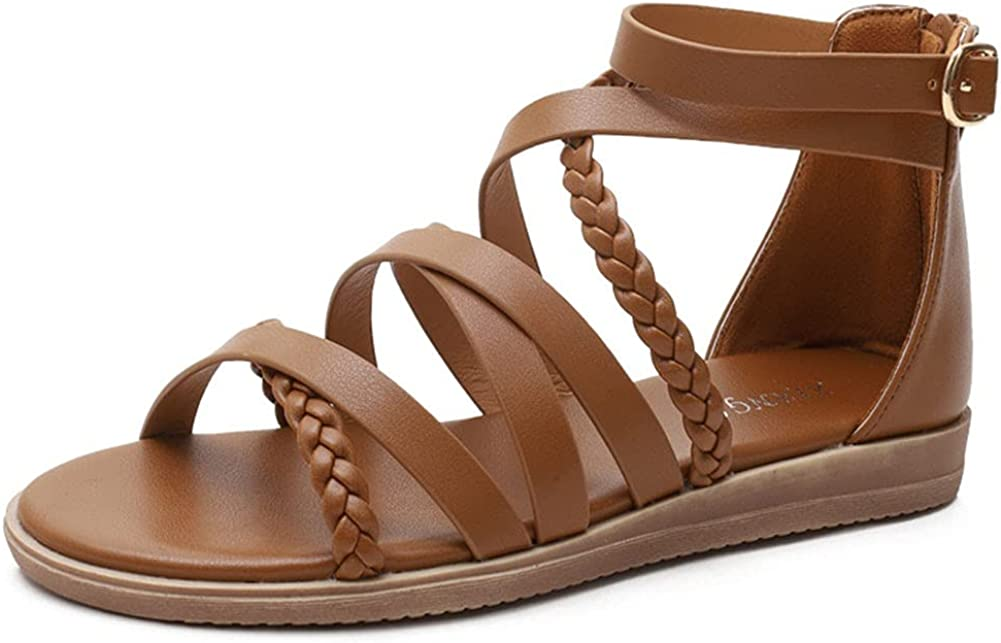 Japan Maker New Womens Gladiator Flat Sandals Lightweight Strapp Casual Don't miss the campaign Bohemian