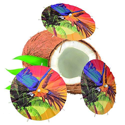 Amakando Papierschirmchen Sommerparty - 18 cm - 6 STK. Cocktailschirmchen Beach Party Tischdekoration Sommerfest Bowle Picker Mottoparty Hawaii Dekoration Karibik Bar Südsee
