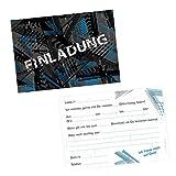 nikima Schönes für Kinder 5 Coole Einladungskarten Trash Blau Schwarz inkl. 5 Transparenten Briefumschlägen Kindergeburtstag Junge Teenager Einladung