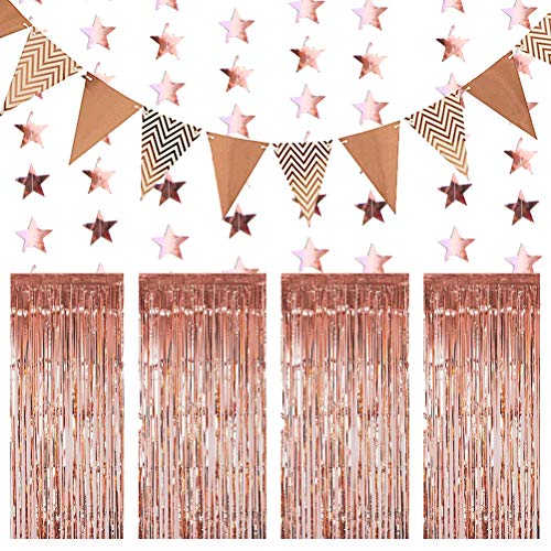 Rose Gold Birthday Decorations, Glitter Paper Star Shape Garland Tinsel Curtains Backdrop Set for Birthday Party Wedding Photo Backdrop Door Wall Decorations
