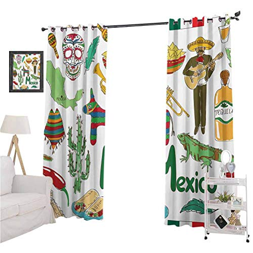 Aishare Store Room Darkening Curtains, Fun Colorful Sketch Artful Mexico Chili Pyramid Nachos Cactus Music Poncho Pattern, 2 Panels 96 Inches Long Block Out Curtains for Living Room, Multicolor
