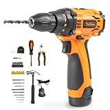 VonHaus Cordless Drill Tool Kit 12V Drill Driver, 1300mAh Li-Ion Battery Max Torque 23nm 10mm Chuck with LED & 32 Pc Tool Set Starter Accessories + Bag - Screwdrivers, Pliers, Hammer Sockets & More